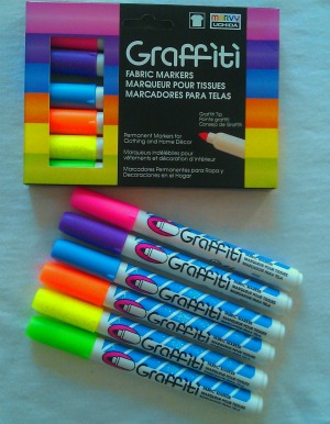 Fluorescent Set - Graffiti Fabric Markers